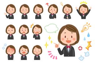 学生(女性) 表情セットのイラスト素材 [FYI03880645]
