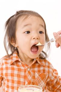 プリンを食べさせてもらう女の子の写真素材 [FYI03880871]