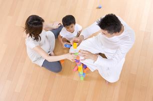 両親と積み木で遊ぶ男の子の写真素材 [FYI03880881]