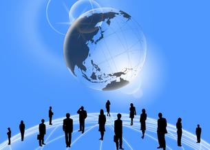 地球とビジネスマンとビジネスウーマンのイラスト素材 [FYI03881345]
