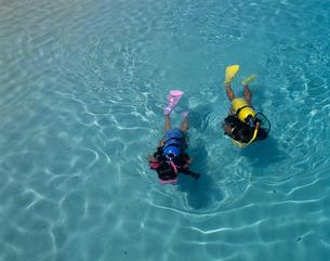 水面を泳ぐ女性ダイバー モルディブの写真素材 [FYI03883805]