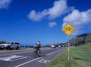 自転車道路の標識 オアフ島の写真素材 [FYI03885020]