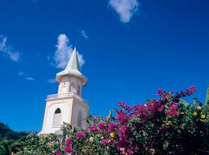 教会と青空とブーゲンビリアの写真素材 [FYI03886775]