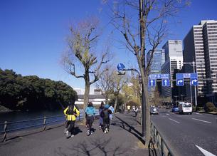 皇居周辺をジョギングする人々  東京都の写真素材 [FYI03887061]