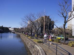 皇居周辺をジョギングする人々 東京都の写真素材 [FYI03887063]