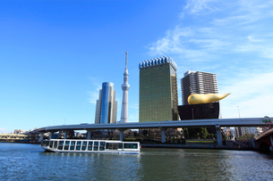 吾妻橋から見た東京スカイツリーの写真素材 [FYI03887495]
