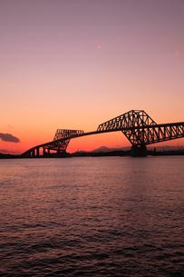 夕景の東京ゲートブリッジの写真素材 [FYI03887534]