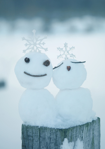 寄り添う雪だるまの写真素材 [FYI03910450]