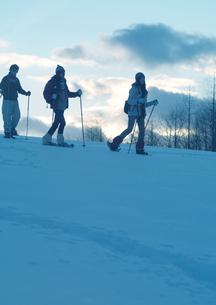 雪原をゆく3人の若者の写真素材 [FYI03910570]