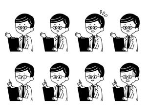 医者-男性-表情-白黒のイラスト素材 [FYI03910590]