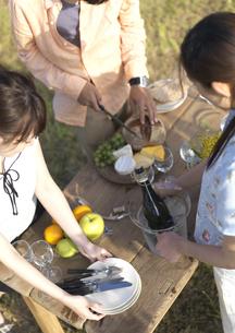 ピクニックで食事の準備をする若者の写真素材 [FYI03911490]