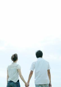 草原で手をつなぐカップルの写真素材 [FYI03911561]