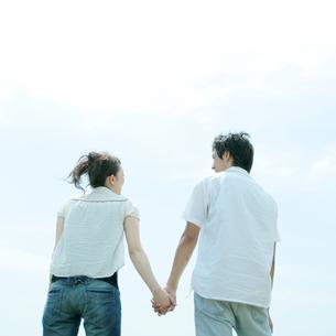 草原で手をつなぐカップルの写真素材 [FYI03911562]