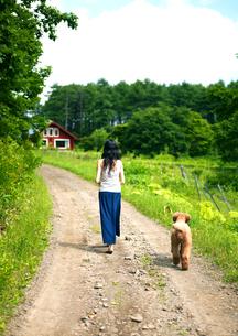 一本道を散歩する犬と女性の写真素材 [FYI03912073]