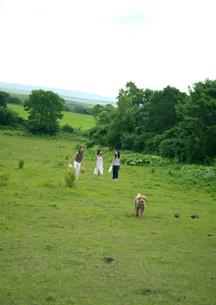 高原を散歩する3人の女性と犬の写真素材 [FYI03912084]