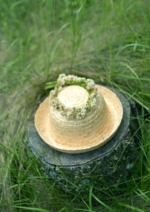 花冠の付いた麦わら帽子の写真素材 [FYI03912157]