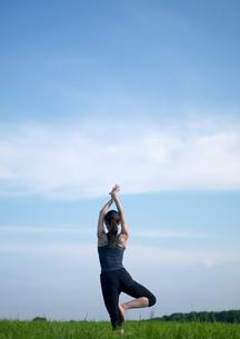 草原でヨガをする女性の写真素材 [FYI03912392]