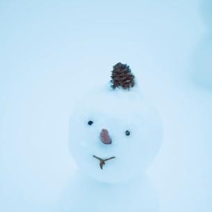 マツカサをつけた雪だるまの写真素材 [FYI03912569]