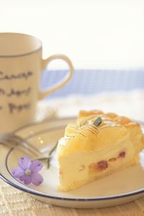 お皿にのったイエロータルトケーキ・紫小花1輪の写真素材 [FYI03913716]