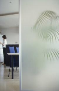 冷蔵庫の前に立つ女性の写真素材 [FYI03913857]