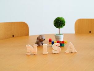 テーブルに置かれた積み木文字NISAとおもちゃの写真素材 [FYI03913953]