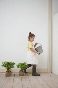 バケツを持った女の子と2本の苗木の写真素材 [FYI03915887]