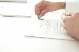 書類に付箋を貼る女性の手元の写真素材 [FYI03916012]