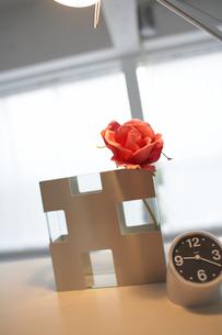 花瓶とバラ 時計の写真素材 [FYI03916093]