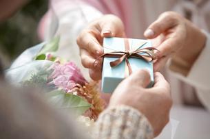 贈り物をやりとりする二人の写真素材 [FYI03916370]