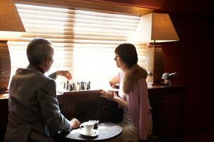 室内でチェスをする男性と女性の写真素材 [FYI03916381]