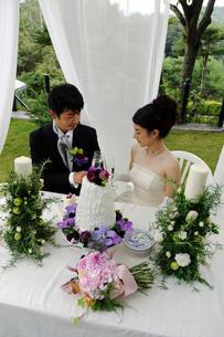 シャンパングラスを持つ新郎と新婦の写真素材 [FYI03917676]