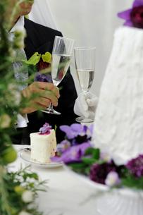 シャンパングラスを持つ新郎と新婦の写真素材 [FYI03917677]