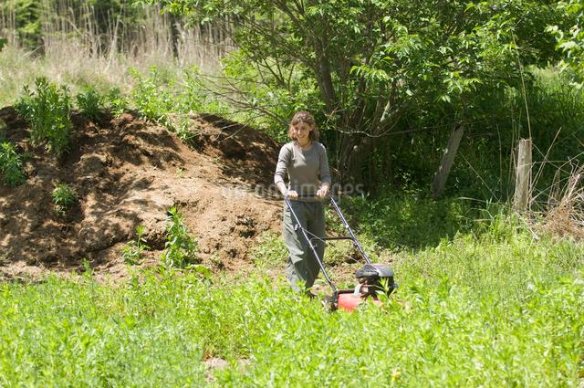 草刈をする女性の写真素材 [FYI03918316]