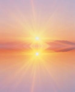 朝日と湖と斜里岳 CGのイラスト素材 [FYI03921769]