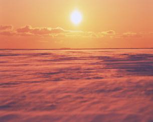 地吹雪と朝日の写真素材 [FYI03922700]
