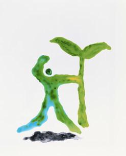 イラスト  人物と双葉のイラスト素材 [FYI03924959]