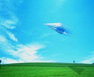 紙飛行機と草原と青空の写真素材 [FYI03925372]