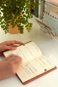 手帳に書き込む手もとの写真素材 [FYI03925998]