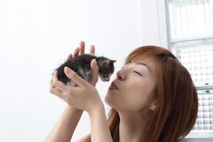 子猫と女性の写真素材 [FYI03926268]