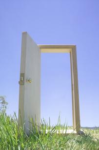 芝の上のドアの写真素材 [FYI03927305]