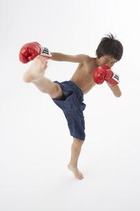 キックボクシングをする男の子の写真素材 [FYI03927707]