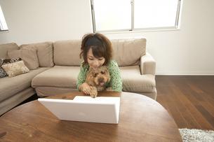 パソコンを見る女性と子犬の写真素材 [FYI03927976]