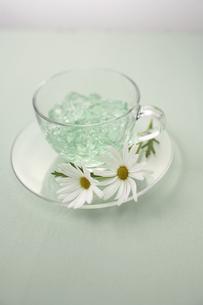 ガラスのカップのゼリーと花の写真素材 [FYI03929302]