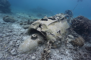 海底に沈むゼロ戦の残骸の写真素材 [FYI03929555]