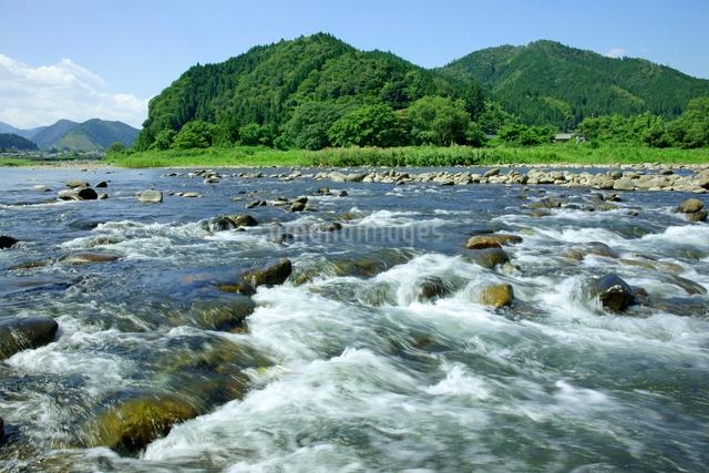 長良川 早瀬と山並の写真素材 [FYI03930410]