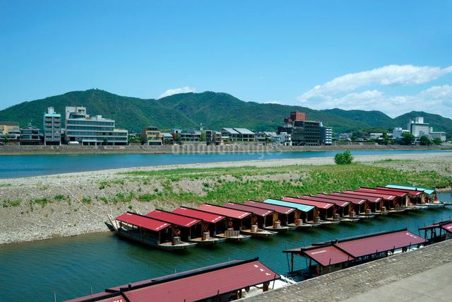 鵜飼の観覧船と長良川 長良川温泉を望む の写真素材 [FYI03930912]