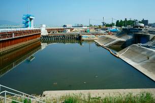 水門の工事中,木曽川の写真素材 [FYI03931248]
