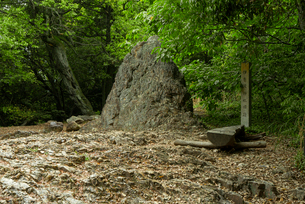 岐阜城 搦手道 瞑想の小径 丸山 旧伊奈波神社伝承地 の烏帽子岩の写真素材 [FYI03931793]
