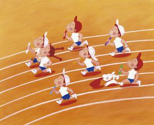 徒競走の運動会のイラストのイラスト素材 [FYI03938109]