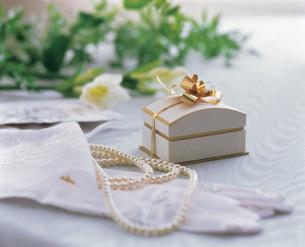 真珠のネックレスと小さな箱 ウェディングイメージの写真素材 [FYI03941648]
